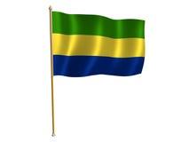 Gabon bandery jedwab ilustracja wektor
