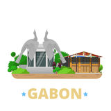Gabon country design template Flat cartoon style w stock illustration