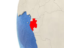 Gabon on 3D globe Royalty Free Stock Image