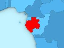Gabon on 3D map Royalty Free Stock Photo