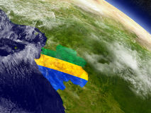Gabon with embedded flag on Earth Royalty Free Stock Image