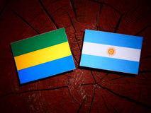 Gabon flag with Argentinian flag on a tree stump. Gabon flag with Argentinian flag on a tree stump Stock Image