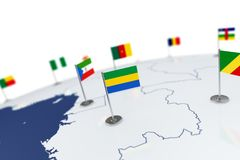 Gabon flag. Country flag with chrome flagpole on the world map with neighbors countries borders. 3d illustration rendering flag Stock Photography