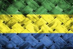 Gabon flag, flag on the wood Stock Images