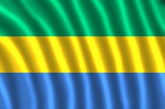 GABON FLAG FLUTTERING. The flag of Gabon is a tricolour consisting of three horizontal green, yellow and blue bands. Adopted in 1960 to replace the previous vector illustration