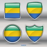 Gabon Flag in 4 shapes collection with clipping path stock image