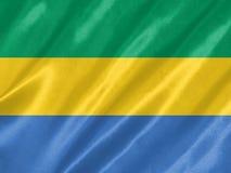 Gabon Flag. With waving on satin texture vector illustration