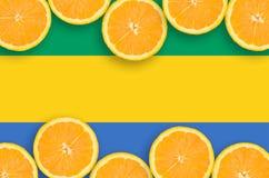 Gabon flagga i citrusfruktskivahorisontalram royaltyfri bild