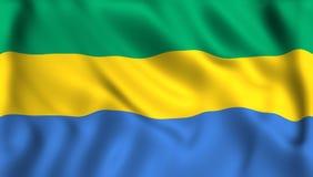 Gabon flagga som vinkar i vinden stock illustrationer
