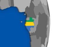 Gabon on globe with flag Stock Photo