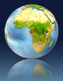 Gabon on globe with reflection. Illustration with detailed planet surface. Elements of this image furnished by NASA Stock Photography