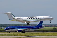 Gabon Government Gulfstream G650ER. Boryspil International Airport / Ukraine - May, 26, 2018: Gabon Government Gulfstream G650ER TR-KGM Royalty Free Stock Photography