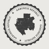 Gabon hipster round rubber stamp with country map. Royalty Free Stock Photography