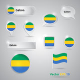 Gabon icon set of flags Royalty Free Stock Image