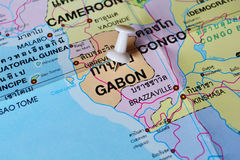 Gabon map. Macro shot of gabon map with push pin Stock Images