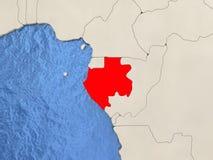 Gabon on map Stock Photos