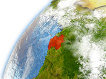 Gabon on model of planet Earth Stock Photography