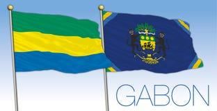 Gabon national flag and presidential flag, Africa stock photography