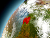 Gabon from orbit of model Earth Royalty Free Stock Images
