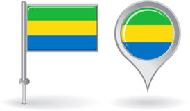 Gabon pin icon and map pointer flag. Vector Royalty Free Stock Image
