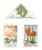 Gabon post stamps with plants. Obsolete postage stamps from Gabon (Africa). Old collectible items - leisure and hobby collection. These post stamps show fruit Royalty Free Stock Photo