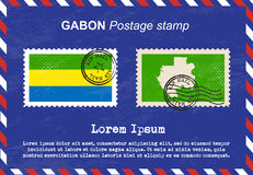 Gabon postage stamp, vintage stamp, air mail envelope. Royalty Free Stock Image