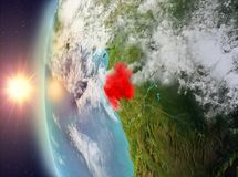 Gabon during sunset from space. Gabon as seen from space on planet Earth during sunset. 3D illustration. Elements of this image furnished by NASA Stock Photography