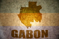 Gabon vintage map. Gabon map on a vintage gabonese flag background Stock Photo