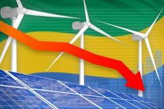 Gabon zonne en windenergie die grafiek, pijl verlagen - alternatieve natuurlijke energie industriële illustratie 3D Illustratie royalty-vrije illustratie