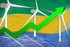 Gabon zonne en windenergie het toenemen grafiek, pijl omhoog - alternatieve natuurlijke energie industriële illustratie 3D Illust vector illustratie