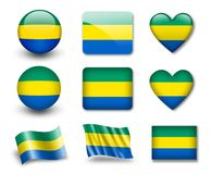 The Gabonese flag. Set of icons and flags. glossy and matte on a white background Stock Images
