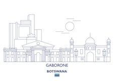 Gaborone linjär stadshorisont Arkivfoton