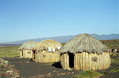 Gabra huts, Lake Turkana, Kenya. The Gabra tribe is living next to the Lake Turkana. This lake has been discovered by the Hungarian adventurer Samuel Teleki and Stock Images