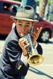 Gabriel Angelo, Trompetter, de Uitvoerder van de Straat Stock Foto's