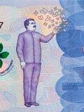 Gabriel Garcia Marquez portrait on Colombia 50000 peso 2016 ba. Nknote closeup macro, Colombian novelist, writer, screenwriter and journalist, Nobel Prize winner royalty free stock photo