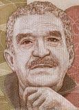 Gabriel Garcia Marquez portrait on Colombia peso banknote closeup macro, great Colombian writer, Nobel Prize winner. stock photo