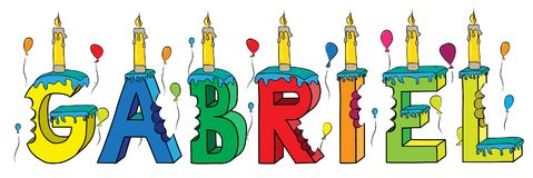 Gabriel male first name bitten colorful 3d lettering birthday cake with candles and balloons.  Stock Photo