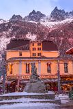 Gabriel Paccard statue, mountains, Chamonix, France royalty free stock photos