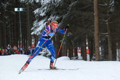 Gabriela Soukalova - biathlon. Gabina Soukalova in women 10 km pursuit race within biathlon world cup 2014/2015 held on Nove Mesto na Morave on 8.2.2015 Royalty Free Stock Photography