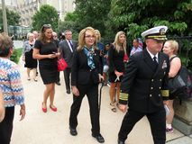 Gabrielle Giffords Leaving Cathedral in Washington DC immagini stock