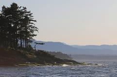 Gabriola Island Shoreline Silhouette. A sunset shoreline silhouette shot of Gabriola Island, in British Columbia, Canada Stock Photo