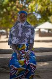 Portrait of a woman in the village of Mandina Mandinga in the Gabu Region. Gabu Region, Republic of Guinea-Bissau - February 7, 2018: Portrait of a woman in the royalty free stock photo