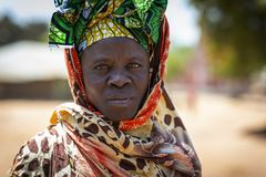 Portrait of a woman in the village of Mandina Mandinga in the Gabu Region. Gabu Region, Republic of Guinea-Bissau - February 7, 2018: Portrait of a woman in the royalty free stock photos