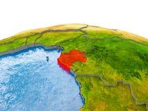 Gabun auf Modell von Erde Lizenzfreie Stockbilder