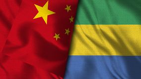 Gabun- und China-Flagge - Illustration 3D Flagge vektor abbildung