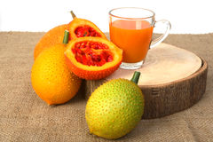 Gac fruit, Baby Jackfruit and juice Stock Photos