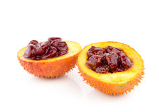 Gac fruit, Baby Jackfruit, Spiny Bitter Gourd, Sweet Grourd or Cochinchin Gourd Royalty Free Stock Photos