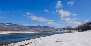 Gacek rzeka w zimie zdjęcia royalty free
