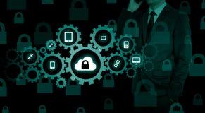 Gacenie dane obłoczny ewidencyjny pojęcie Ochrona i bezpieczeństwo obłoczni dane obraz stock