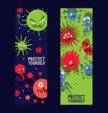 Gacenie sztandaru wektoru ilustracja ustawiać Drobnoustroje lub kolekcja kreskówka wirusy Zli mikroorganizmy dla ilustracja wektor